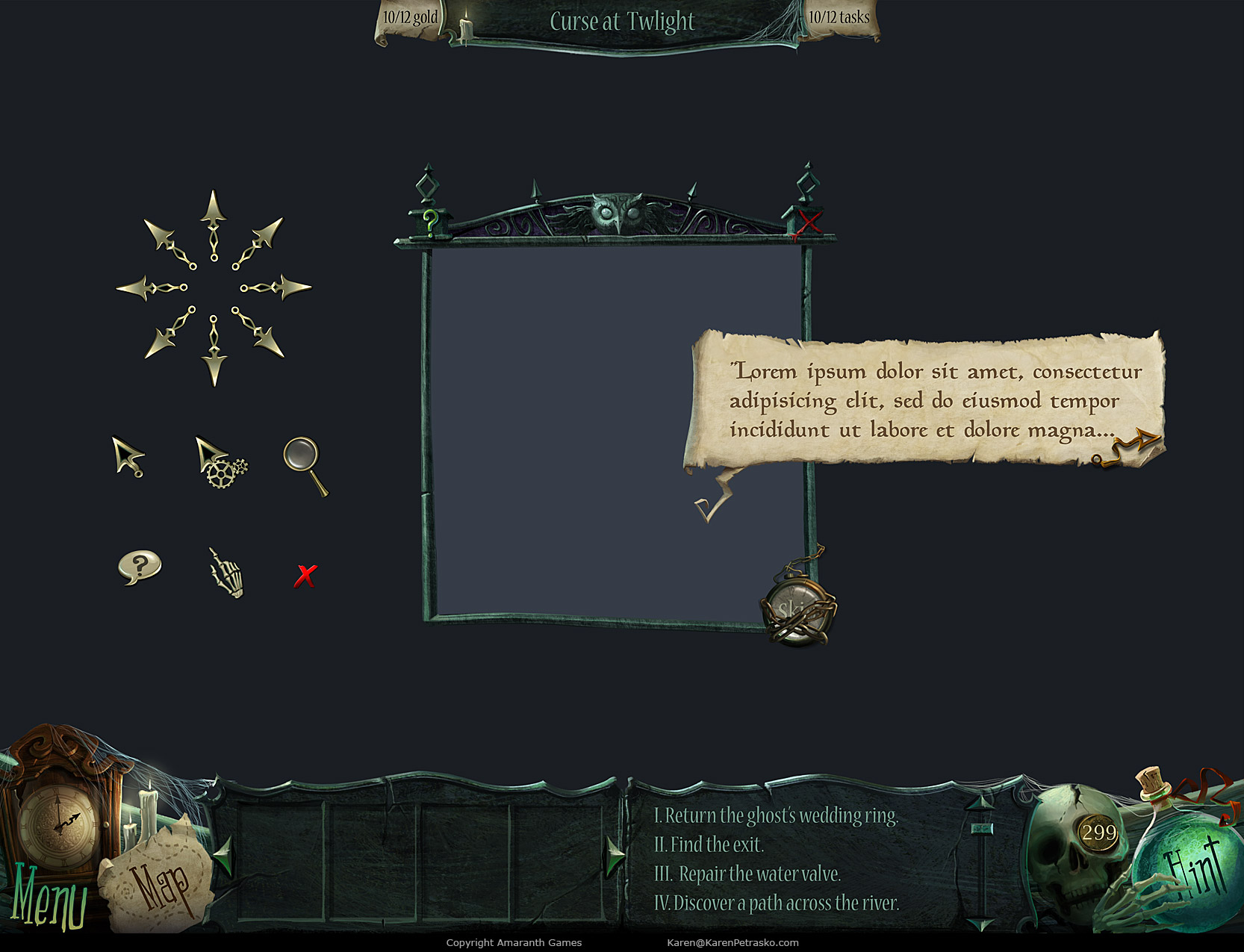 UI elements for Curse at Twilight: Thief of Souls