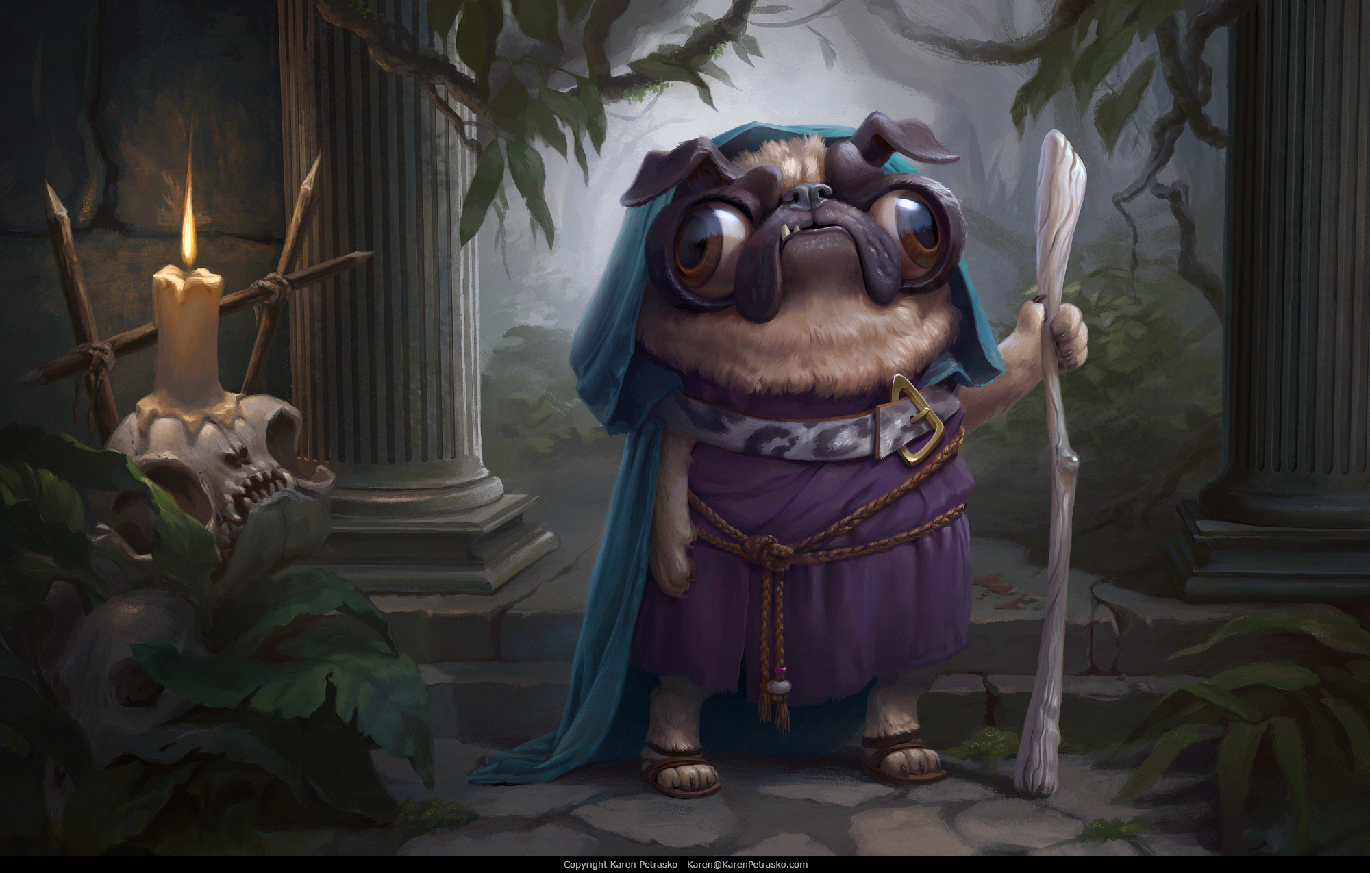 Cute pug wizard in jungle temple ruins