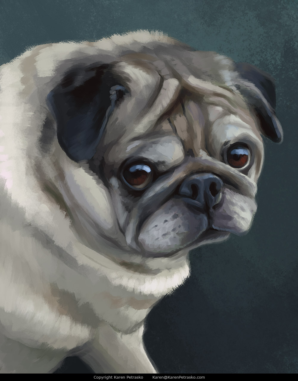 Pug portrait painting