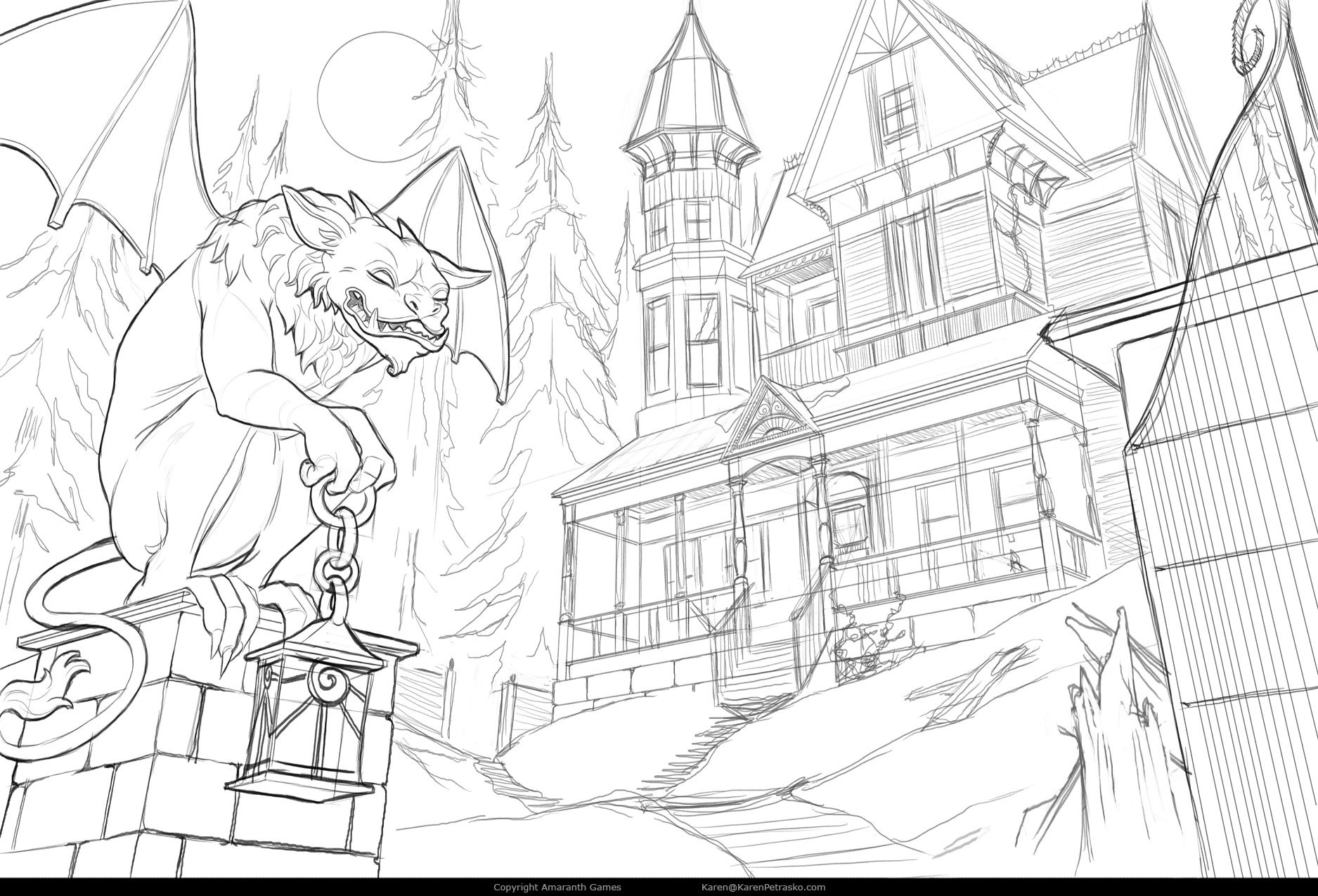 Front yard manor sketch for Curse at Twilight: Thief of Souls