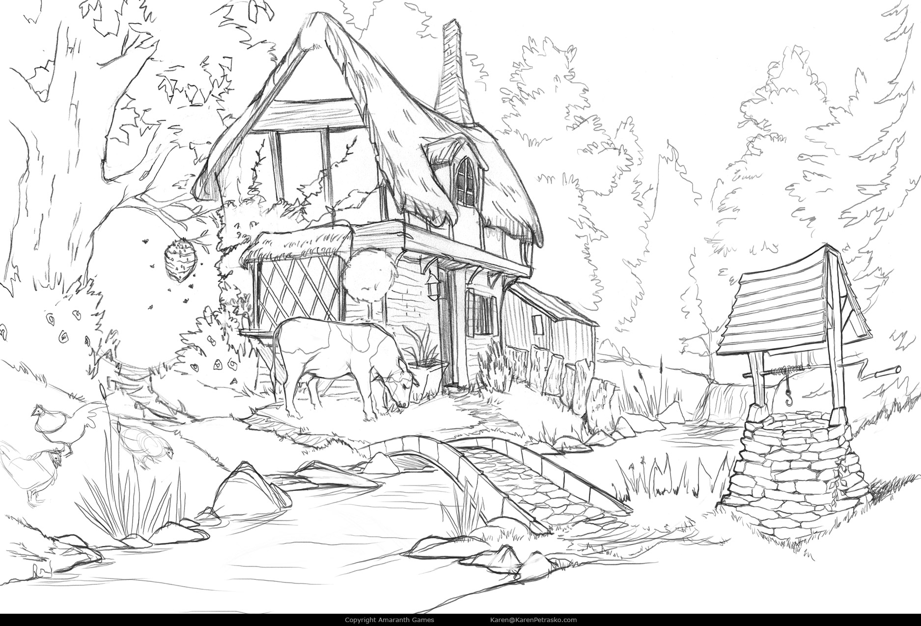 Cottage sketch in Curse at Twilight: Thief of Souls
