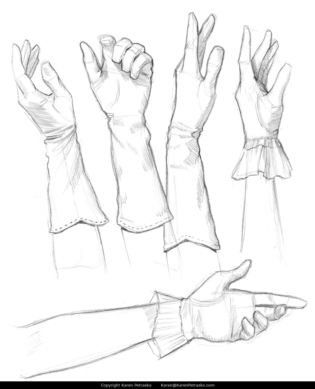 Gloved hands drawings