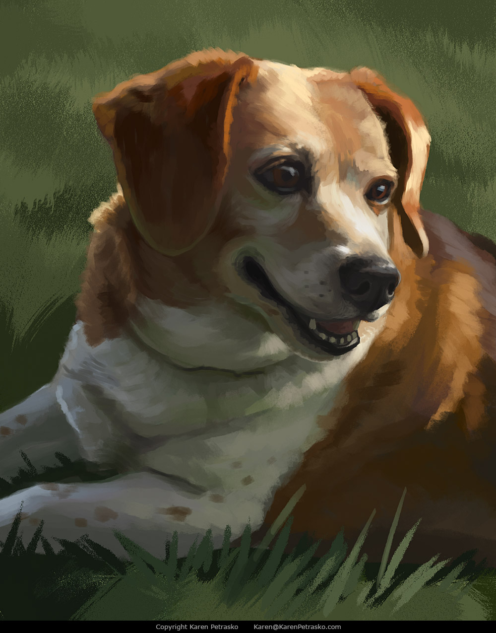Beagle portrait painting