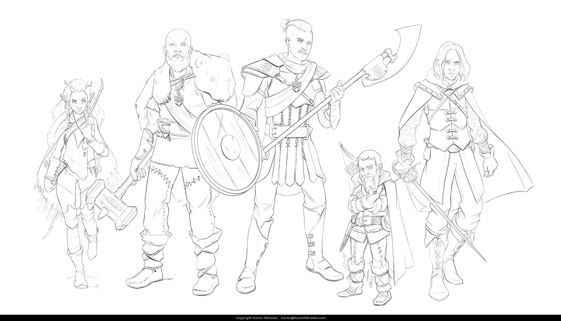 D&D Wood Elf Druid, Human Barbarian, Human Paladin, Halfling Ranger, and Half Drow Rogue