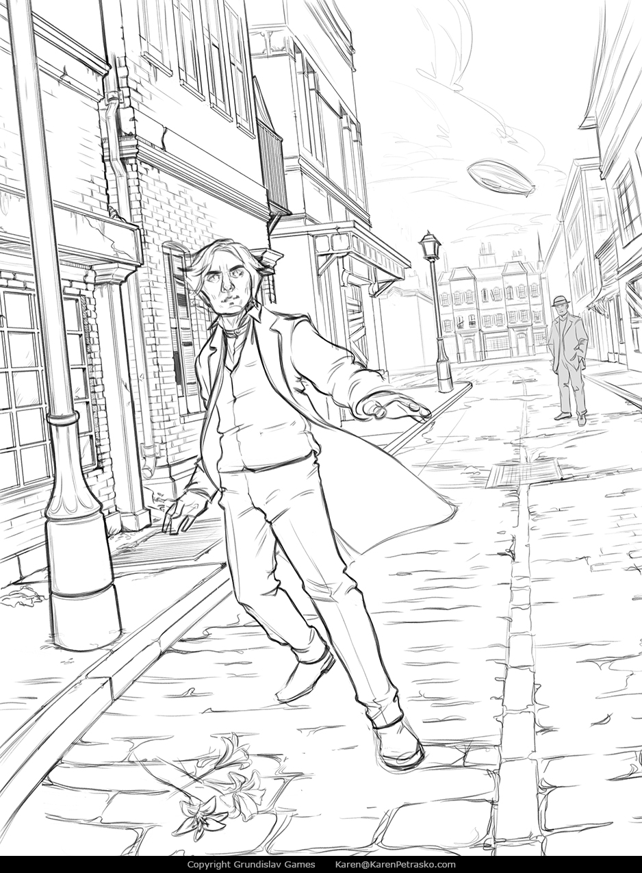 Sketch for point and click adventure game Lamplight City by Grundislav Games