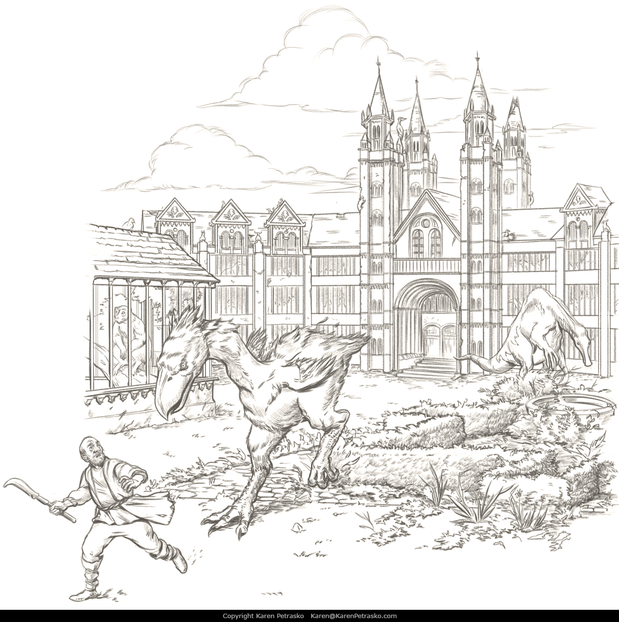 Dinosaur zoo menageries D&D interior art for Spectacular Settlements by Nord Games
