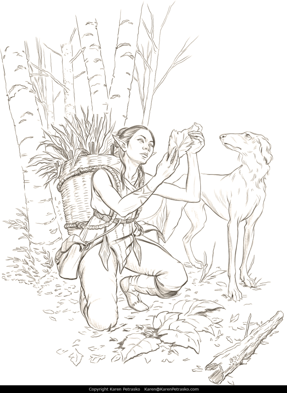 Elf herbalist D&D art for The Ultimate Guide to Alchemy by Nord Games